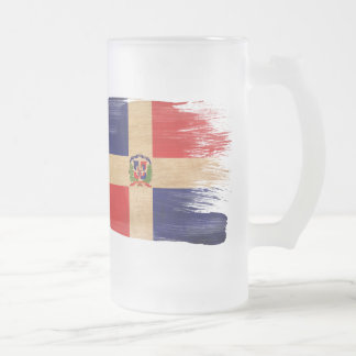 Dominican Republic Flag 16 Oz Frosted Glass Beer Mug