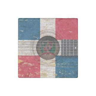 Dominican Republic Flag on Old Acoustic Guitar Stone Magnet