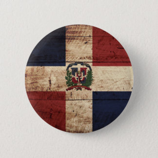 Dominican Republic Flag on Old Wood Grain Button