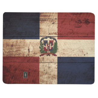 Dominican Republic Flag on Old Wood Grain Journal