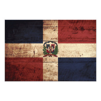 Dominican Republic Flag on Old Wood Grain Photo Print