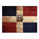 Dominican Republic Flag on Old Wood Grain Postcard