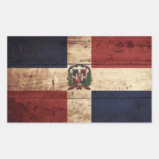 Dominican Republic Flag on Old Wood Grain Rectangular Sticker