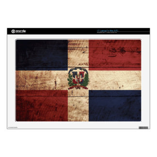 """Dominican Republic Flag on Old Wood Grain 17"""" Laptop Decal"""