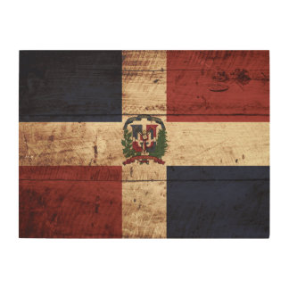 Dominican Republic Flag on Old Wood Grain Wood Wall Art
