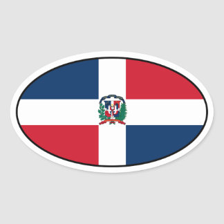 Dominican Republic Flag Oval Sticker