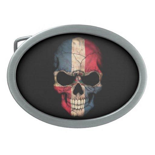 Dominican Republic Flag Skull on Black Belt Buckle