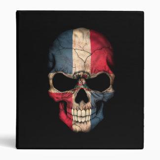 Dominican Republic Flag Skull on Black Vinyl Binder