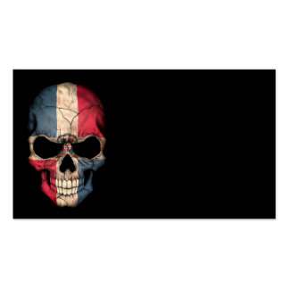 Dominican Republic Flag Skull on Black Business Card Template