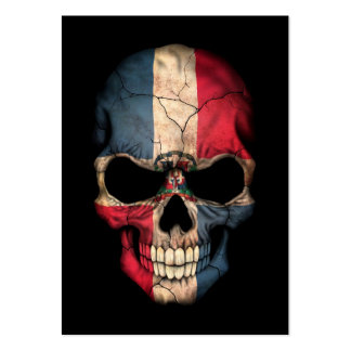 Dominican Republic Flag Skull on Black Business Card Templates