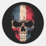 Dominican Republic Flag Skull on Black Sticker