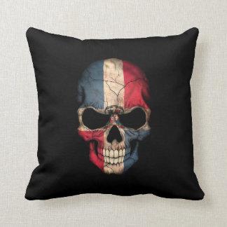 Dominican Republic Flag Skull on Black Throw Pillow