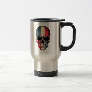 Dominican Republic Flag Skull Travel Mug