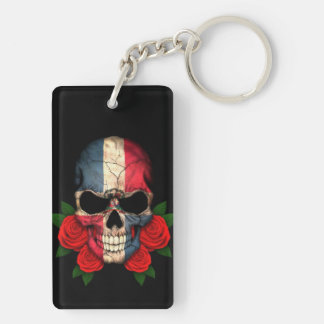 Dominican Republic Flag Skull with Red Roses Keychain