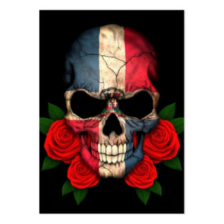 Dominican Republic Flag Skull with Red Roses Large Business Card