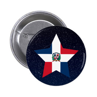 Dominican Republic Flag Star In Space 2 Inch Round Button