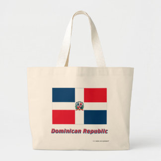 Dominican Republic Flag with Name Canvas Bags