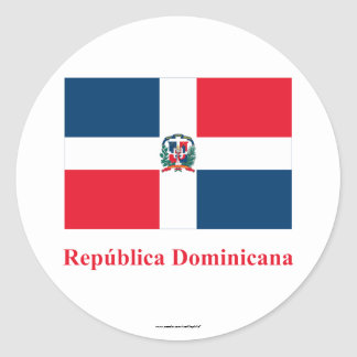 Dominican Republic Flag with Name in Spanish Classic Round Sticker