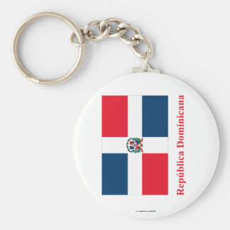Dominican Republic Flag with Name in Spanish Keychain