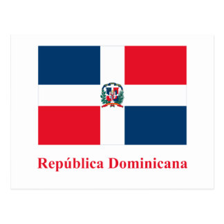 Dominican Republic Flag with Name in Spanish Postcard