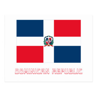 Dominican Republic Flag with Name Postcard