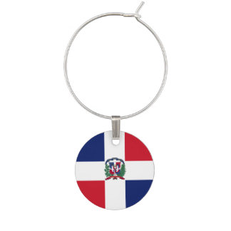 Dominican Republic Flag Wine Glass Charms