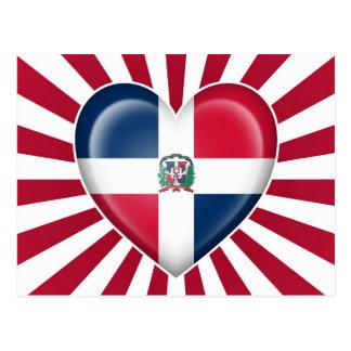 Dominican Republic Heart Flag with Sun Rays Postcard