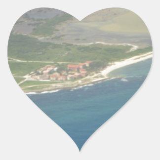 Dominican Republic Hispanola Aerial View Heart Sticker