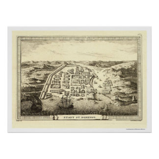 Dominican Republic Map by C F Fritzsch 1755 Poster