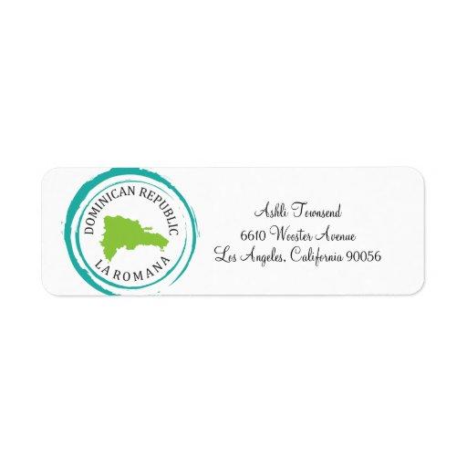 Dominican Republic Map & Customize Your Text Custom Return Address Label