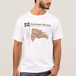 Dominican Republic Map + Flag + Title T-Shirt