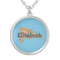 Dominican Republic Map   Name Necklace