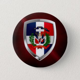 Dominican Republic Mettalic Emblem Pinback Button