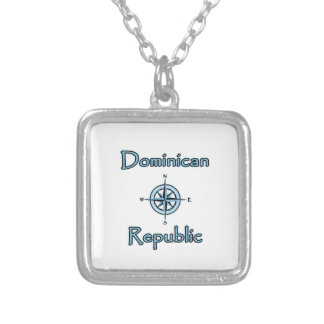 Dominican Republic Nautical Logo (Compass Rose) Silver Plated Necklace
