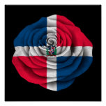 Dominican Republic Rose Flag on Black Poster