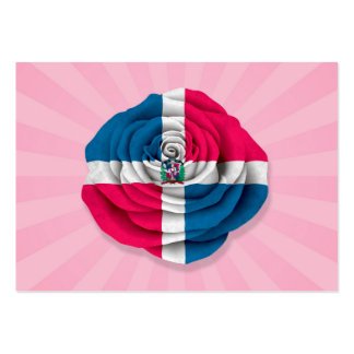Dominican Republic Rose Flag on Pink Business Card Templates