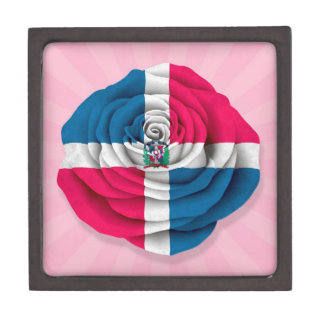 Dominican Republic Rose Flag on Pink Premium Trinket Boxes