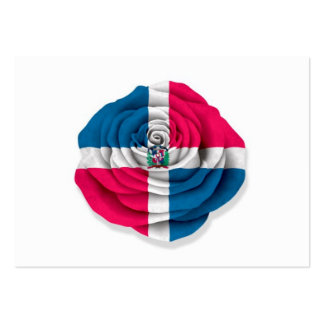 Dominican Republic Rose Flag on White Business Card Template