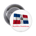 Dominican Republic Waving Flag w/ Name in Spanish 2 Inch Round Button
