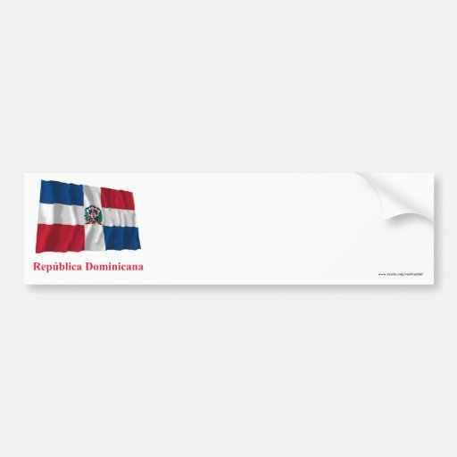 Dominican Republic Waving Flag w/ Name in Spanish Bumper Sticker