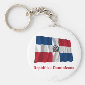 Dominican Republic Waving Flag w/ Name in Spanish Keychain