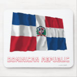 Dominican Republic Waving Flag with Name Mouse Pads