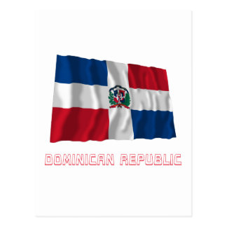 Dominican Republic Waving Flag with Name Postcard