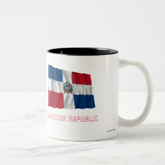 Dominican Republic Waving Flag with Name Two-Tone Coffee Mug