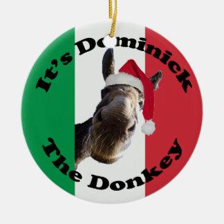 dominick el burro adorno navideño redondo de cerámica