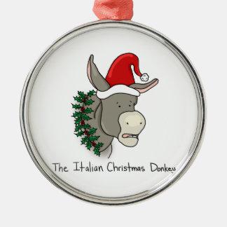 Dominick el burro italiano del navidad adorno navideño redondo de metal
