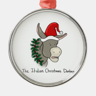 Dominick el burro italiano del navidad adorno redondo plateado