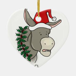 Dominick el burro italiano del navidad adorno de cerámica en forma de corazón