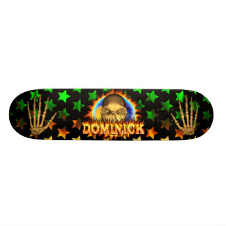 Dominick skull real fire and flames skateboard des