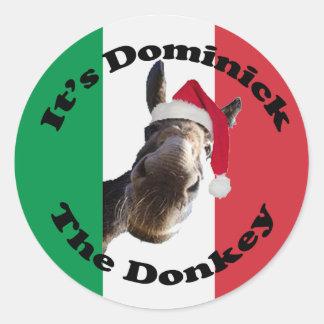dominick the donkey classic round sticker